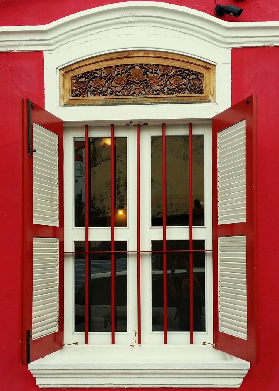 Red Peranakan Shophouse with White Window in Johor Bahru Building Exterior Urbanphotography Urbanexploration EyeEm Best Shots Adapted To The City Architecture Still Life