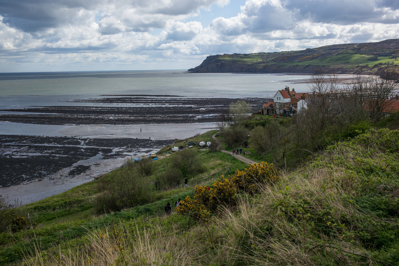Robin Hood's Bay, UK. Beach Beauty In Nature Cloud - Sky Day Dove Grass Horizon Over Water Landscape Landscape_Collection Mountain Nature No People Outdoors Robin Hood's Bay Scenics Sea Sky Tranquility Water