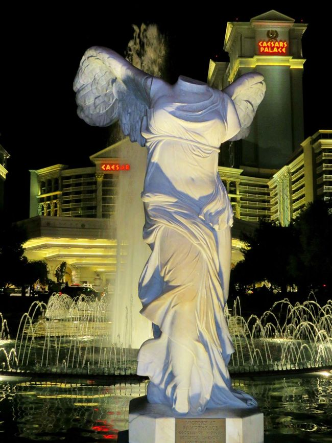 Victory Las Vegas Nevada Caesarspalace Statue Night Shot