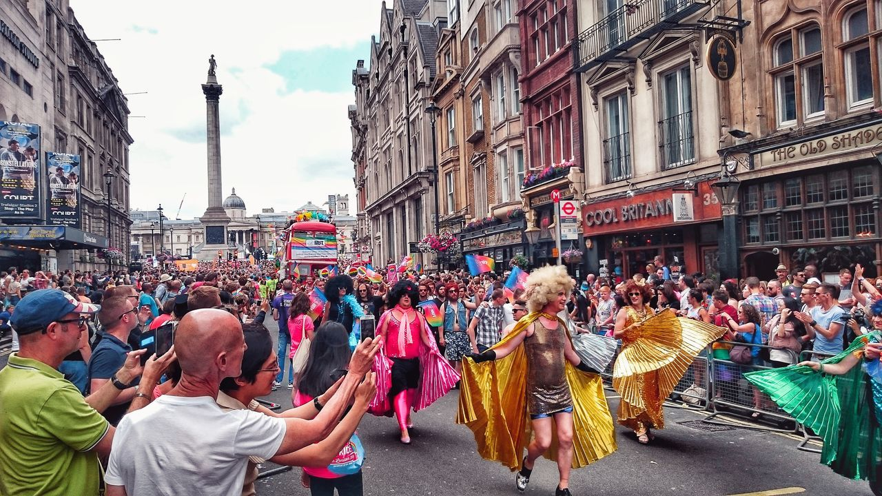 Carnival Crowds And Details except it's not in Brazil and it's the 2015 London LGBTQT* Pride parade... Celebration Large Group Of People Travel Destinations Adults Only City Parade Outdoors Adult Holiday - Event People Day Crowd Colourful