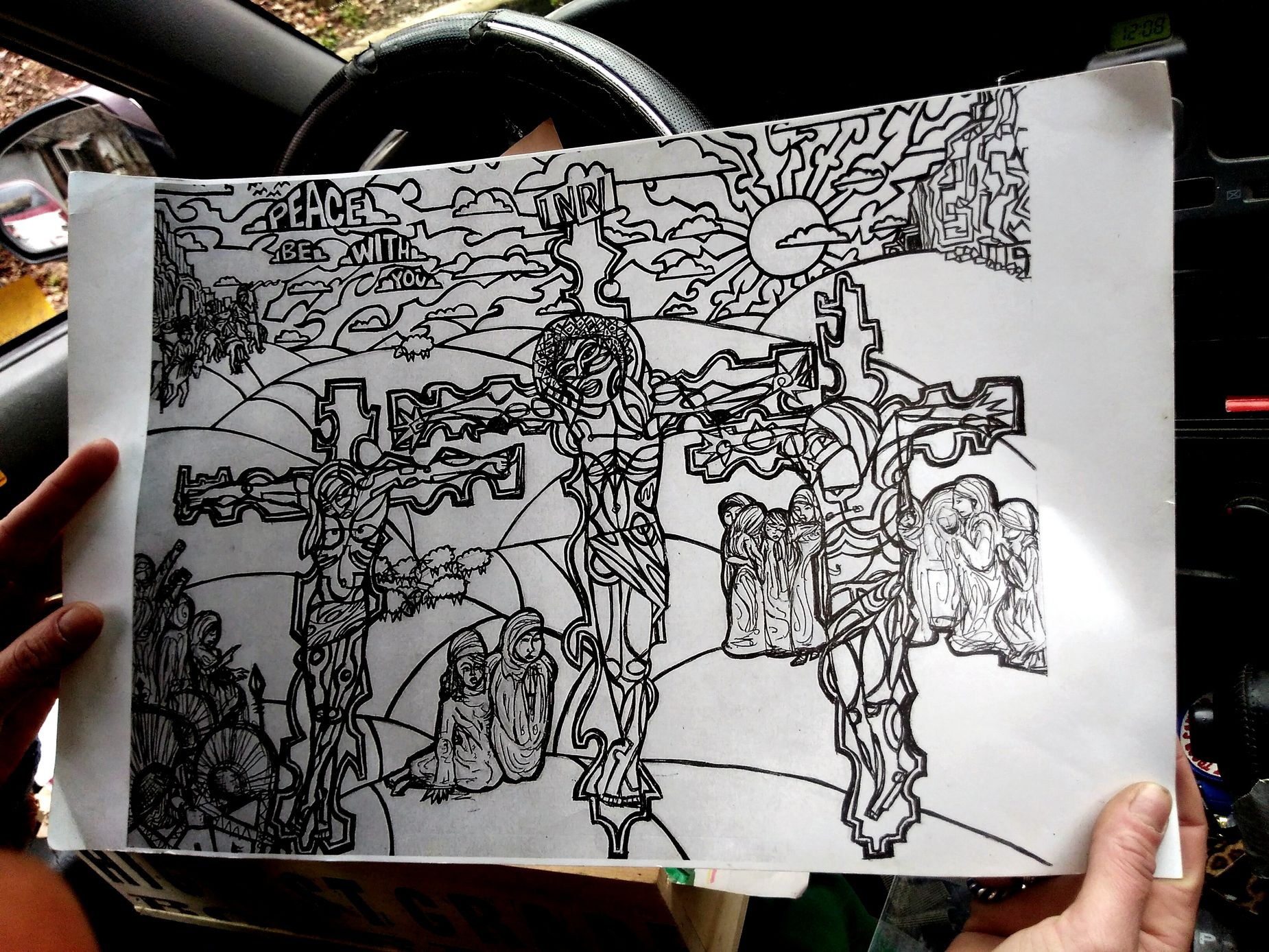 Artist:Casey Jo Crockett Holy Art Crucifixion Of Christ Artastic Artastical Very nice Casey but, I'm unsure about the coloring book idea.