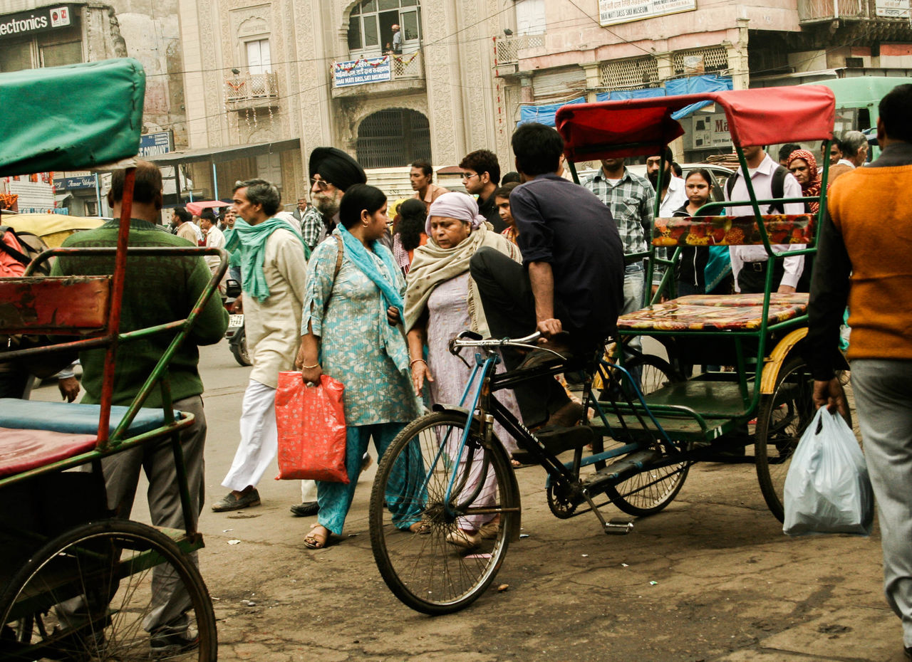 Chandni Chowk, Old Delhi Bicycle Chandnichowk City City Life City Street Cycling Delhi Incredible India Indian People Local People Old Delhi Outdoors People Street Transportation Travel Travel Destinations Travel Photography Women
