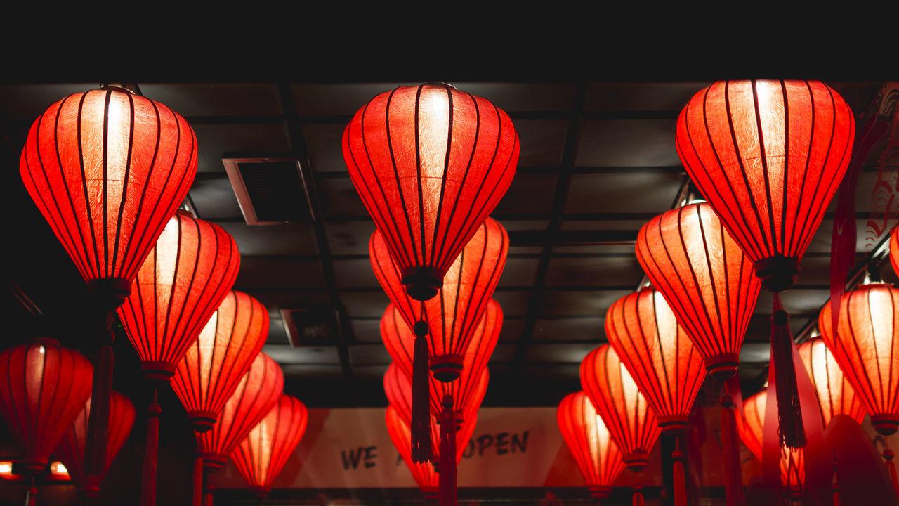 Lighting Equipment Chinese Lantern Chinese Lantern Festival Close-up Hanging Illuminated Indoors  Lantern Light And Shadow Lighting Equipment Neon Neon Life Night No People Orange Color Red Traditional Festival