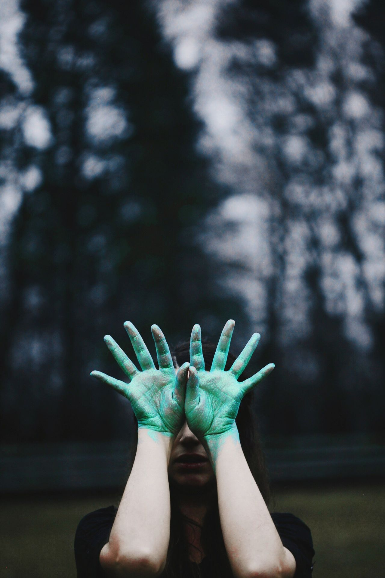 human hand Hands no face one person outdoors portrait Portrait of a Woman Fine Art Photography creative Dark sky forest Weird creepy EyeEmNewHere EyeEmNewHere.