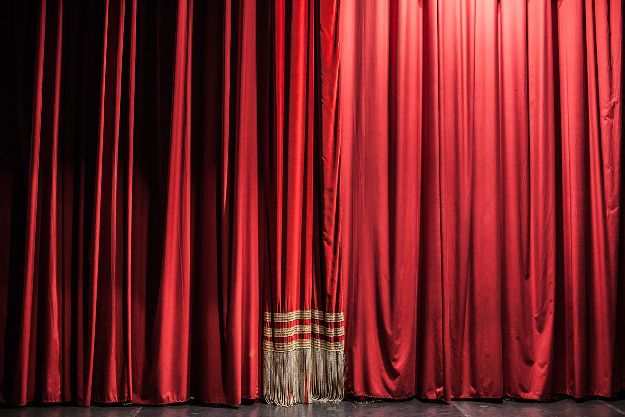 Red curtains Arts Culture And Entertainment Backgrounds Ceremony Classical Concert Closed Curtain Day Drapes  Fame Film Industry Hanging Indoors  MOVIE Movie Theater No People Performance Performing Arts Event Red Stage - Performance Space Stage Theater Textile Textured  Theatre Theatrical Performance Vibrant Color