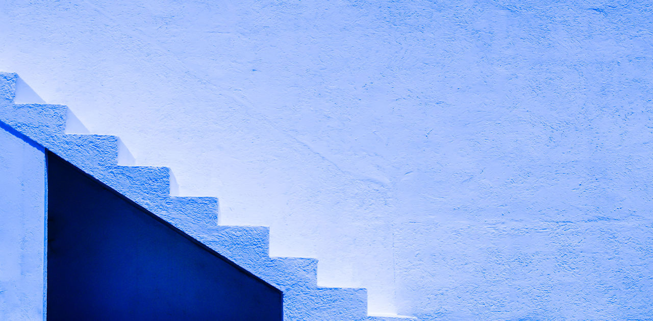 Architecture Blue Building Exterior Built Structure Close-up Day Finca Minimalism Minimalistic No People Outdoors Sky Stair Stairs Treppe