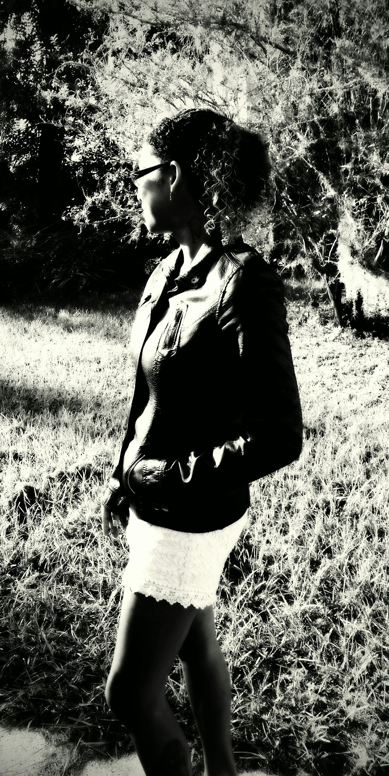 Self Portrait Leather Jacket Mossy Tree Curly Hair White Shorts Morning Light Black And White Photography