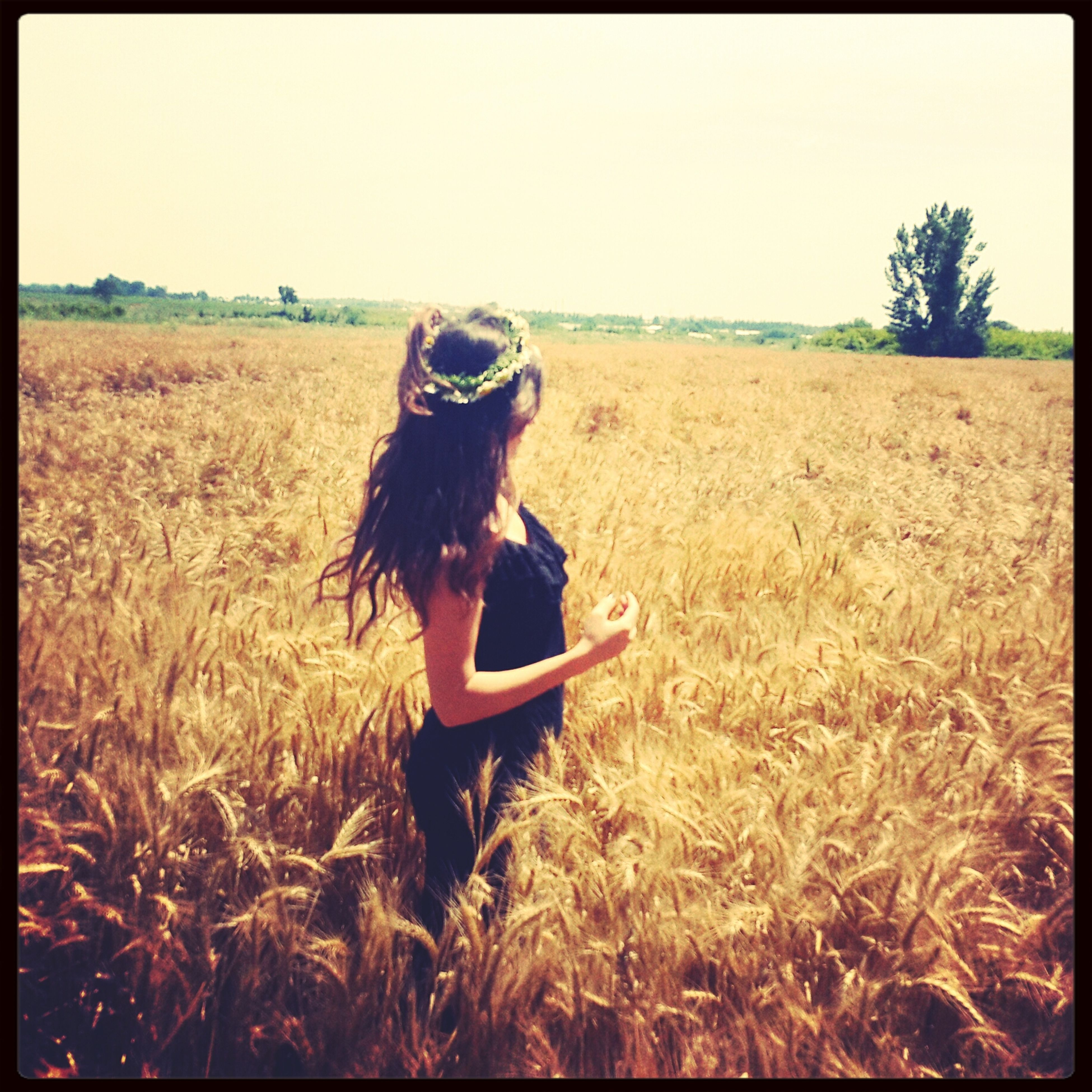 transfer print, field, grass, clear sky, auto post production filter, full length, leisure activity, lifestyles, landscape, agriculture, rural scene, long hair, young women, grassy, nature, young adult, plant, rear view