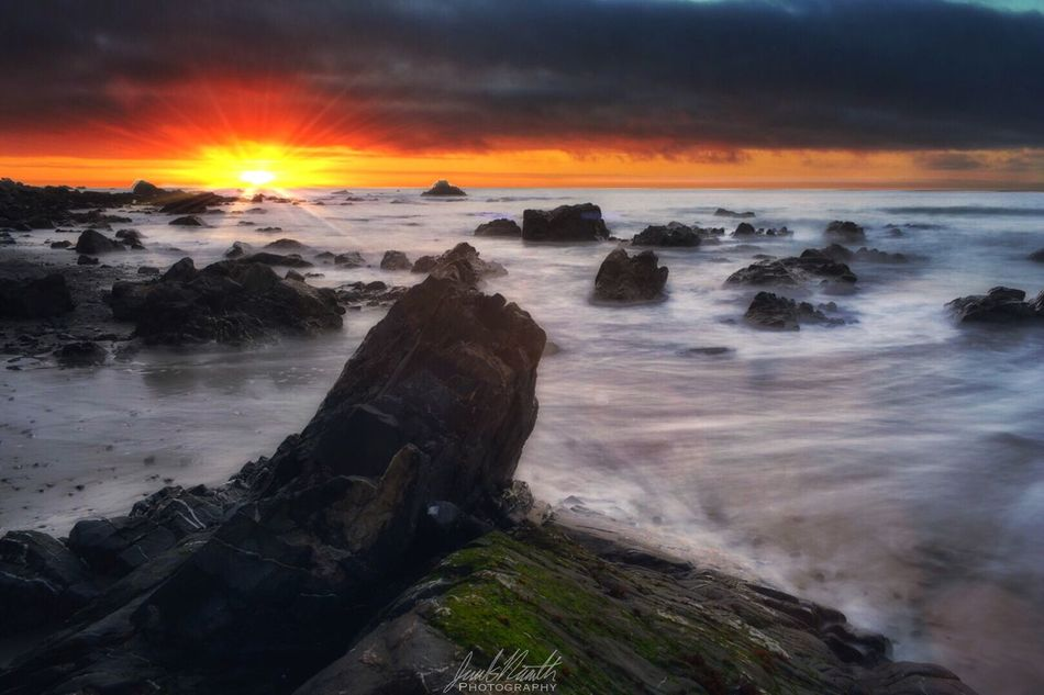 Agate Beach  Trinidad Beach Beautiful Sunset Ocean Pacific Ocean Slow Shutter