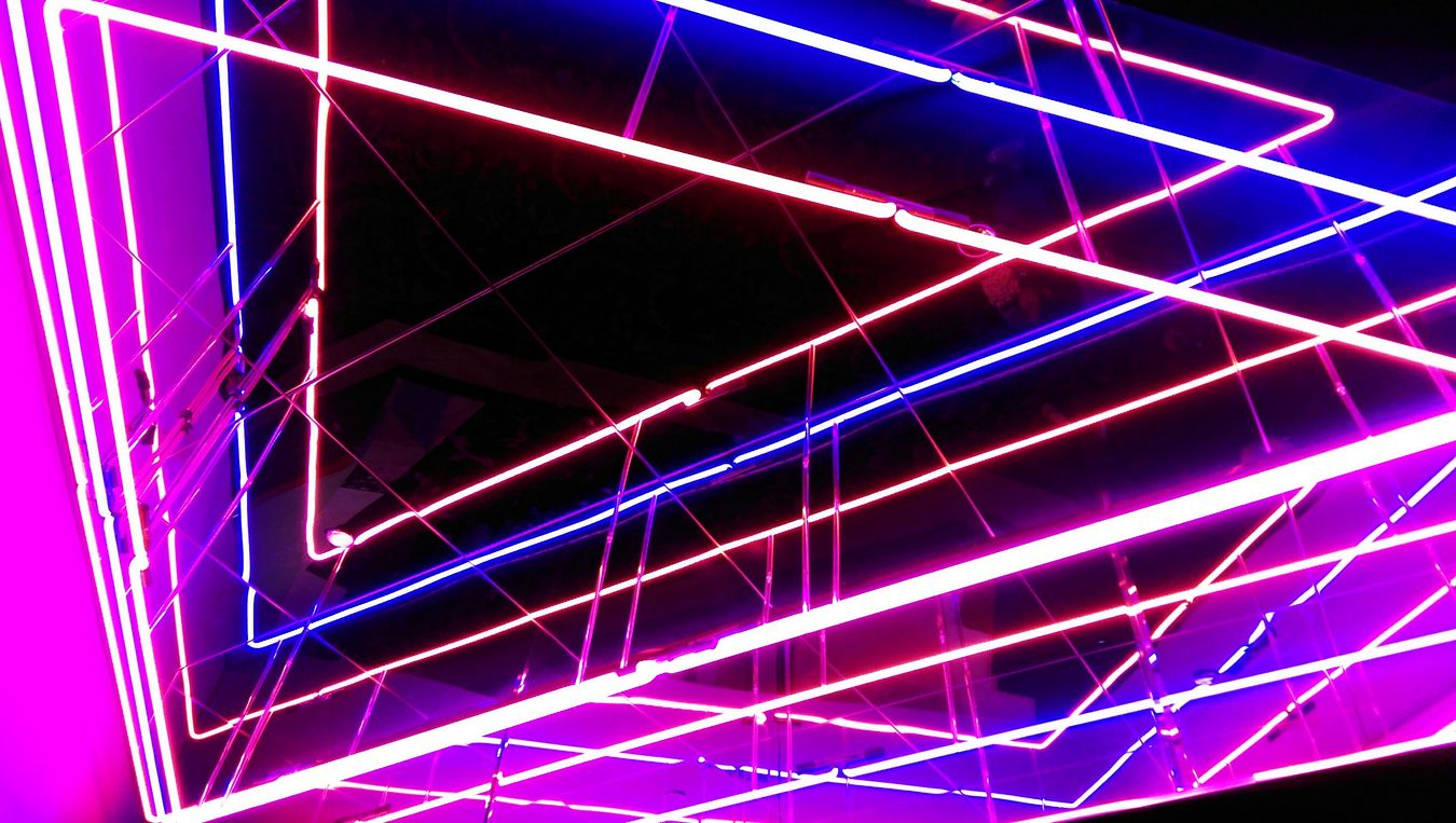 Neon Lights Lights Above Me Theater Movie Night Pattern Pinks And Purples Triangles Triangle Brights