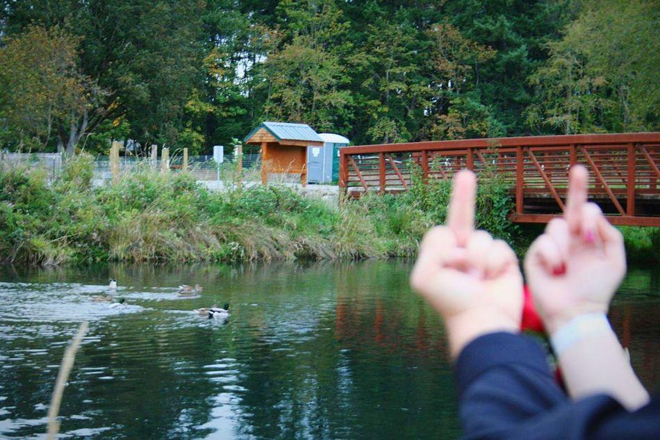 My girlfriend and I Homecoming Ducks River Santiam River Rusty Bridge Bridge