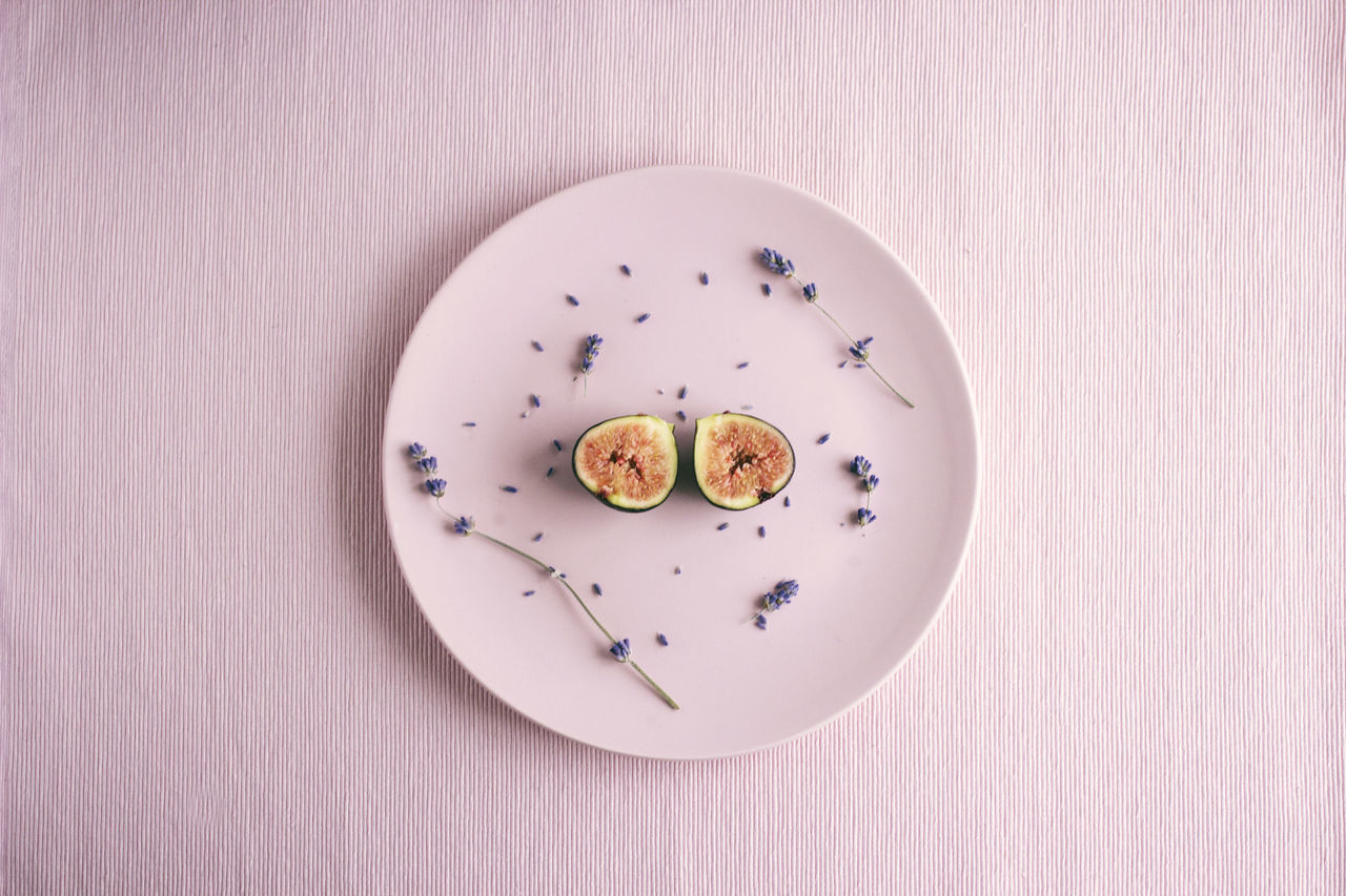Breakfast Day Directly Above Fig Flowers Food Food And Drink Foodphotography Fresh Freshness Fruit Healthy Indoors  Lavender Millennial Pink Minimalism No People Pink Plate Produce Ready-to-eat Spring Sweet Food Table