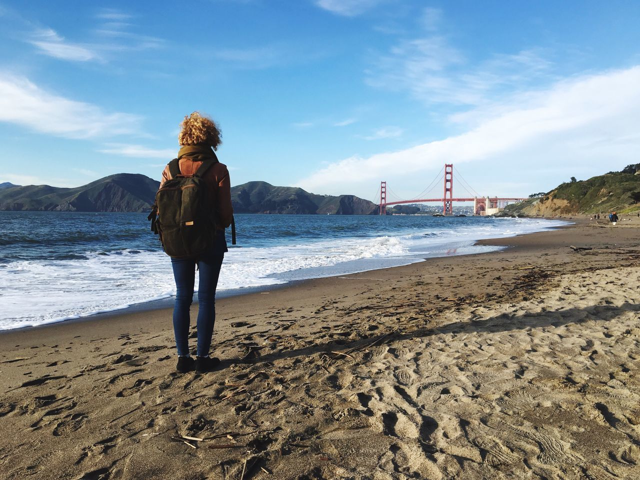 Iphonephotography IPhone Photography IPhoneography Golden Gate Bridge Beach Full Length Real People One Person Sky Sea Leisure Activity Day Sand Standing Outdoors Water Nature Scenics Beauty In Nature