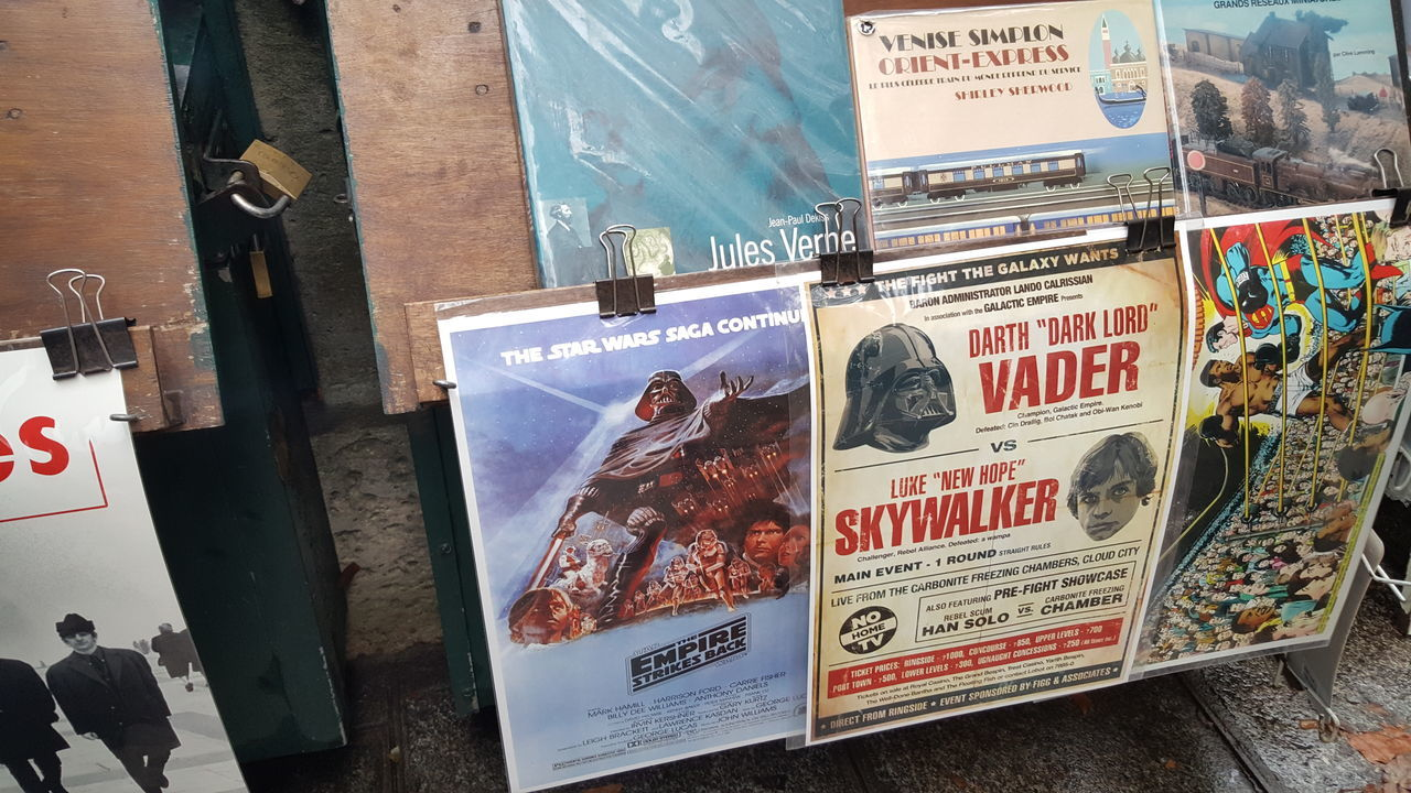 Advertisement Advertising Collection Darthvader Exploring Exploring New Ground French Hollywood Market Market Stall Marketplace No People Old Photography Poster Poster Collection Posters Skywalker Star Wars Star Wars Collectables Taking Photos Taking Pictures Travel Destinations Travel Photography Traveling