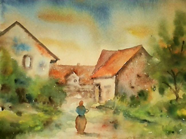 Dorfimpression in Herrhausen . Aquarell 36 x 48 cm 1983 Art Painting Watercolor Village Houses Woman Sunshine Fog Trees Light Street Summer ☀ Morning