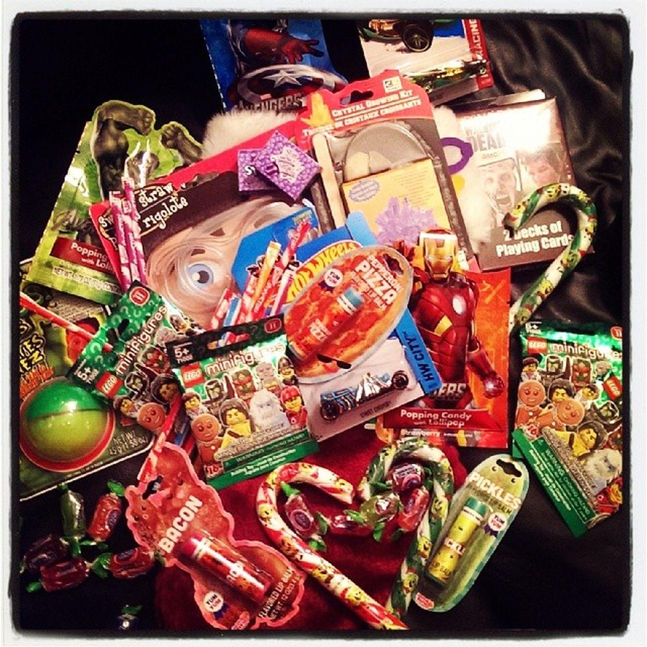 StockingStuffers Christmas ChristmasEVe Candy candyCanes nerds walkingDead lego legoFigs superHeroes pepperoniLipBalm lol