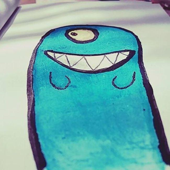 Doodles, a cada dia curtindo mais. Testando misturas, aquarela +marcadores; ) Doodles Instadoodles Monster Desenho Aquarela Marcadores