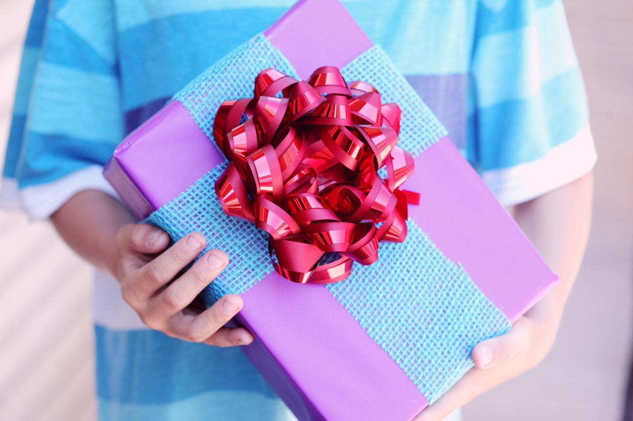 Birthday Birthday Party Birthday Present Blue Box - Container Celebration Child Colors Crafts Gift Gifts Handmade Hands Holding Kids Party People Pink Presents Red Ribbon Tied Bow Wrapped Wrapping Paper