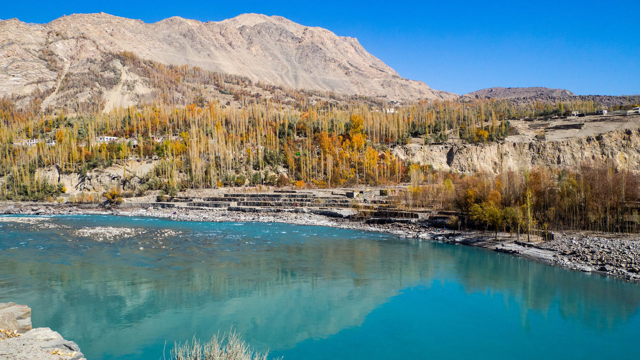 Water Nature Beauty In Nature Outdoors Landscape Day No People Tree Autumn Along The Way River View Pakistan Blue Water