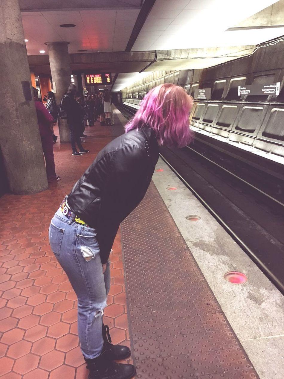Purple Hair Metro Washington, D. C. Train Leather Jacket