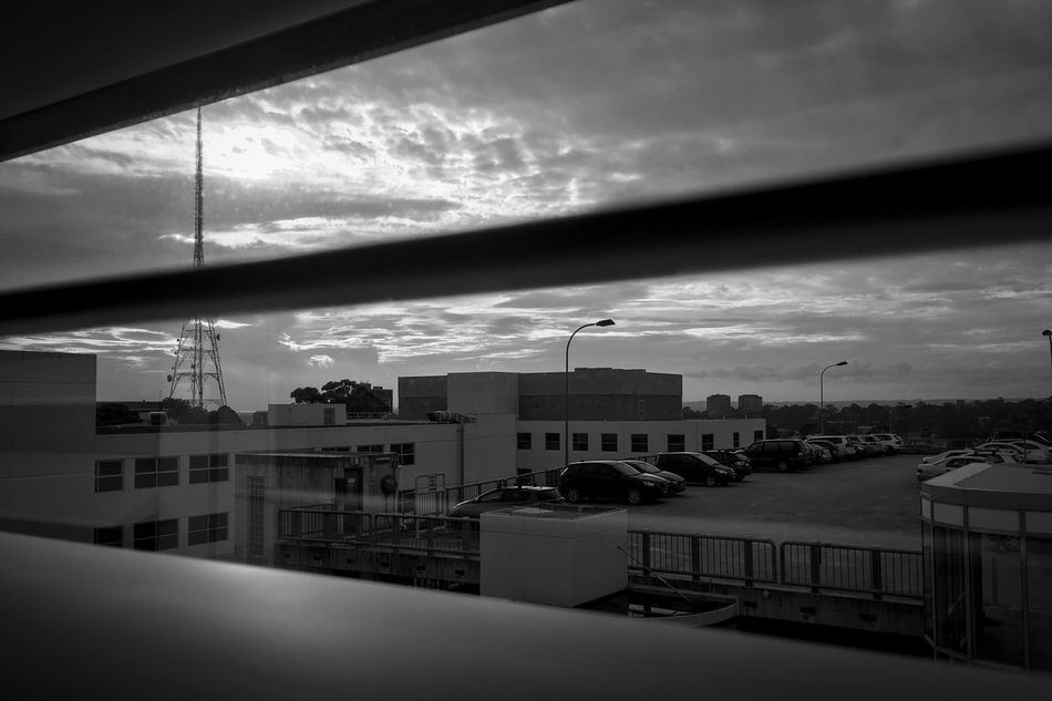 Looking through the blinds Sky Window Shadows & Lights Monochrome