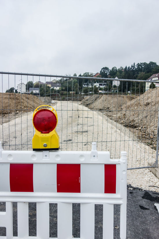 Absperrung Area Baustelle Bridge City Life Colorful Day Lot Multi Colored No People Outdoors Red Road Works Site Sky Snow Covered