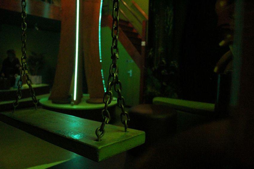 Coffeshop Green Swing Indoors  Night Hanging