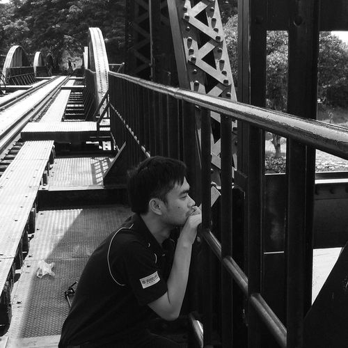 Bridge Riverside Thailand Blackandwhite