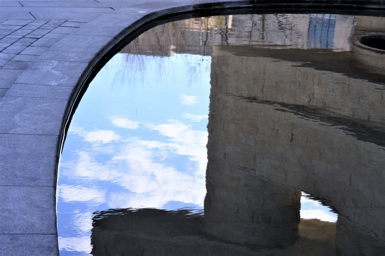 Building reflected in water with clouds and sky Architecture Architecture_collection Blue Sky Building Reflections Cloud Reflections Clouds And Sky Reflection_collection Reflections In The Water Water Reflections