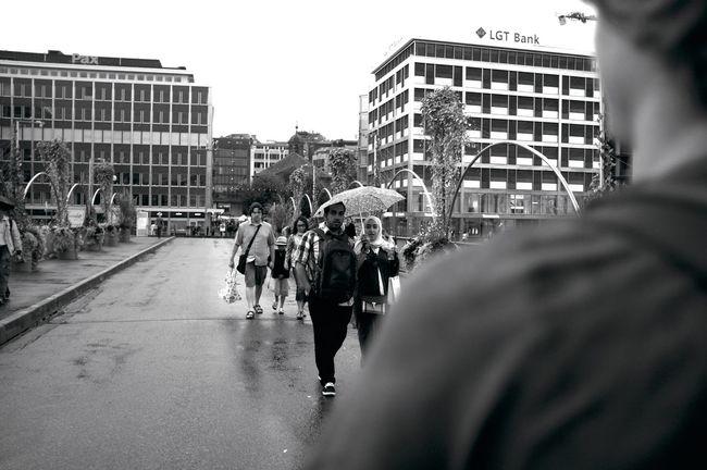 Over the shoulder // Geneva, Switzerland Building Exterior City Empty Side Of The Street Look Rainy Rainy Days Streetphotography