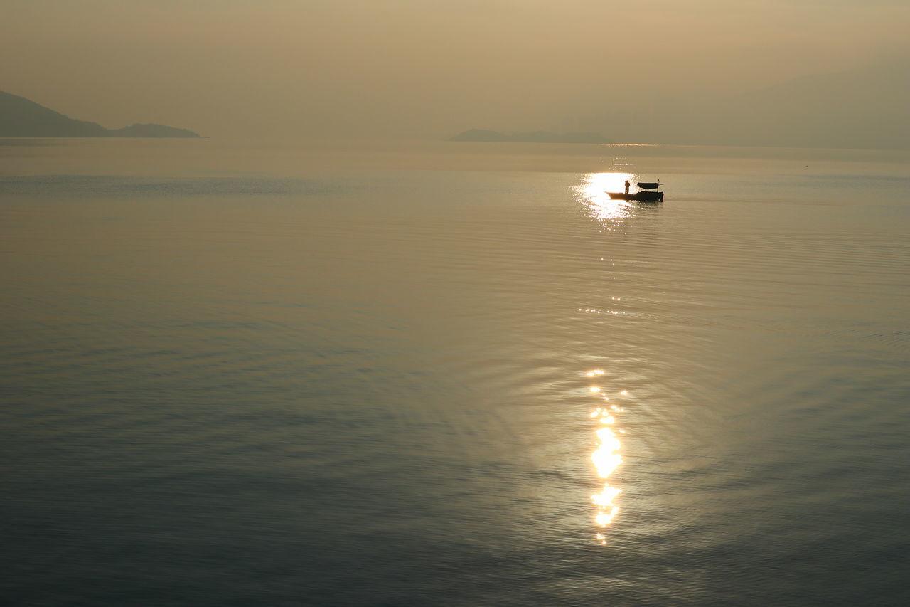 Fisherman Reflection Nature Sunrise Silhouette Waterfront Scenics Sea Day Tranquility Water Discoverhongkong Nautical Vessel Tadaa Community Hong Kong Hongkong Photos