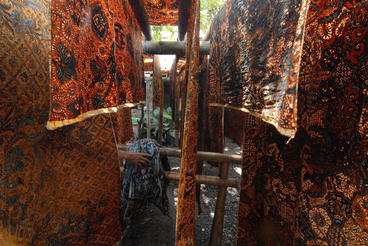 Batik Textiles Drying Outdoors