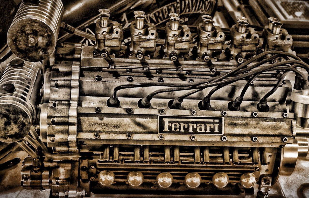 Ferrari V-12 Technology Cable Indoors  Electricity  No People Industry Control Panel Day Miniature Model Detailed To Perfection Ferrarista Metal Sculpture Powerful Vintage Close-up High Angle View