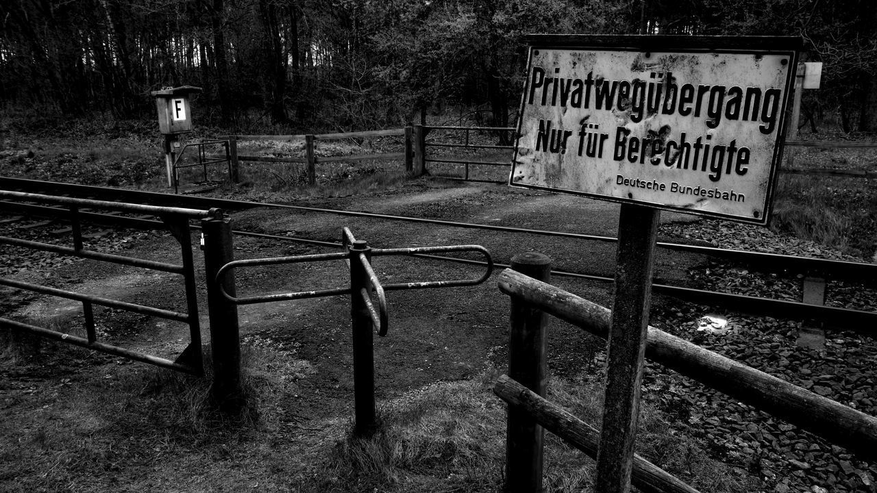 Bahnübergang/ Grade Crossing Communication Text Day Outdoors No People Close-up Sky Monochrome Monochrome Photography Blackandwhite Blackandwhite Photography Black & White Shields Grade Crossing Warning Sign Warning Signs