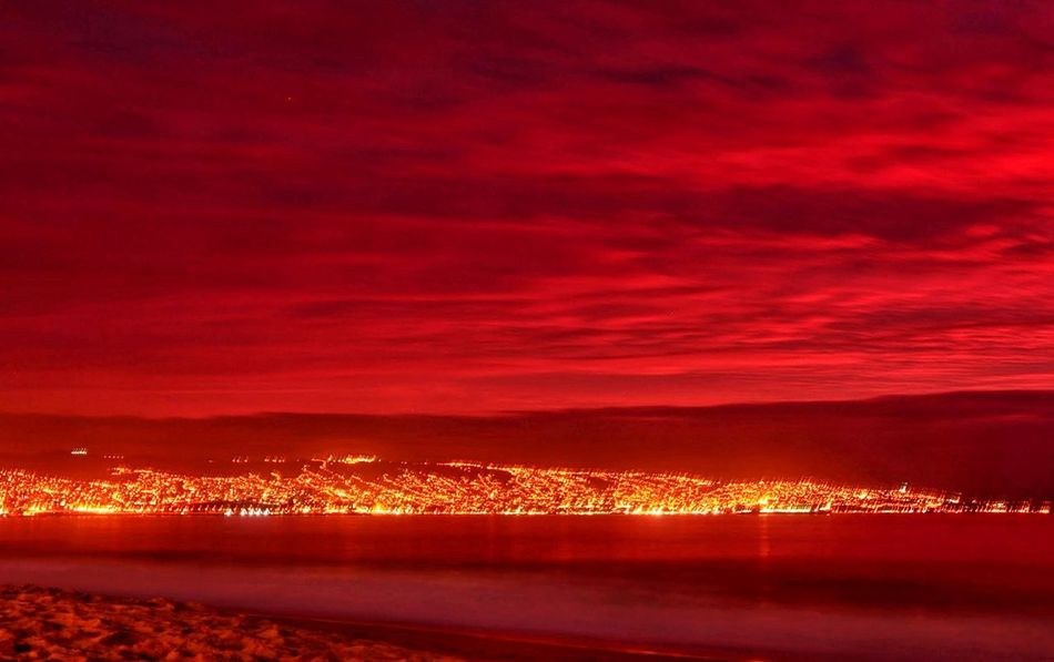 Color Palette Valparaiso, Chile Burning Red Landscape Beach Sunset Las Salinas Panoramic Photography Lights
