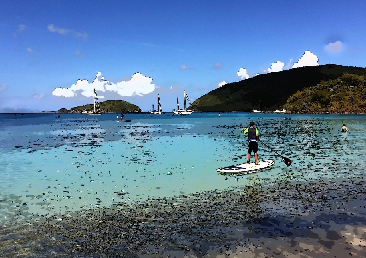 Rear View Of Man On Paddleboard At Sea Against Sky