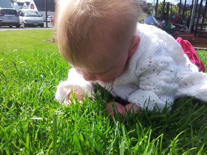 From My Point Of View. Babys First Touch Of Grasss Baby Play With Baby Park