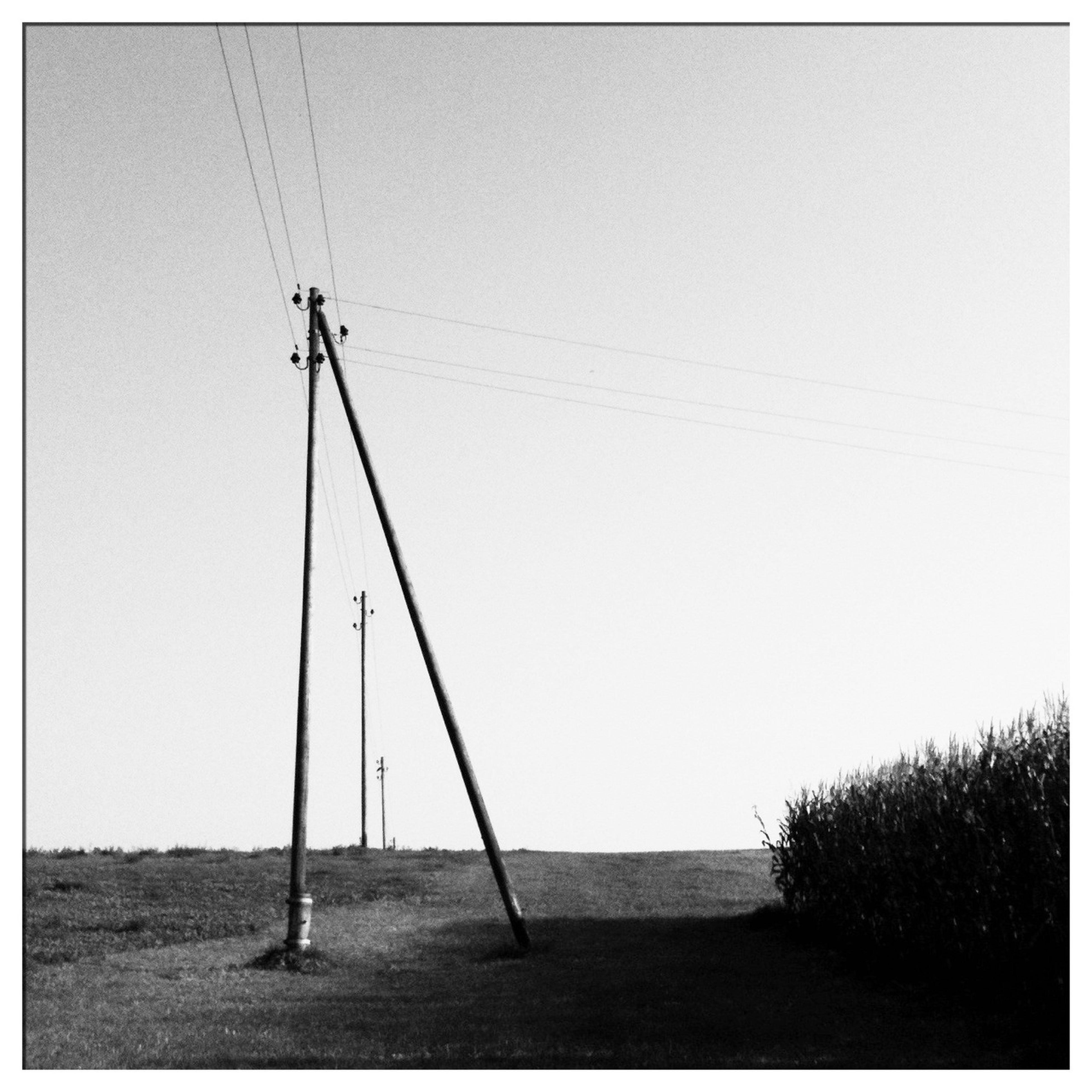 clear sky, transfer print, power line, electricity pylon, fuel and power generation, copy space, auto post production filter, electricity, power supply, technology, connection, low angle view, cable, tranquility, outdoors, nature, day, tranquil scene, no people, sky