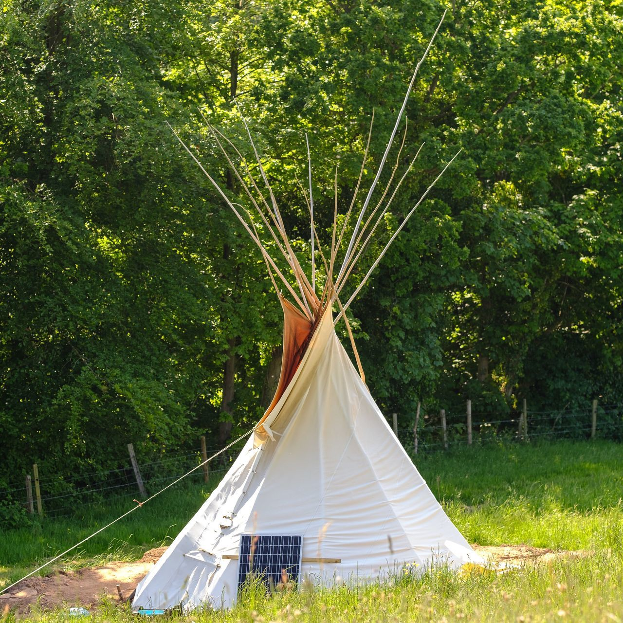 Tepee and solar technology in the Derbyshire village of Little Eaton