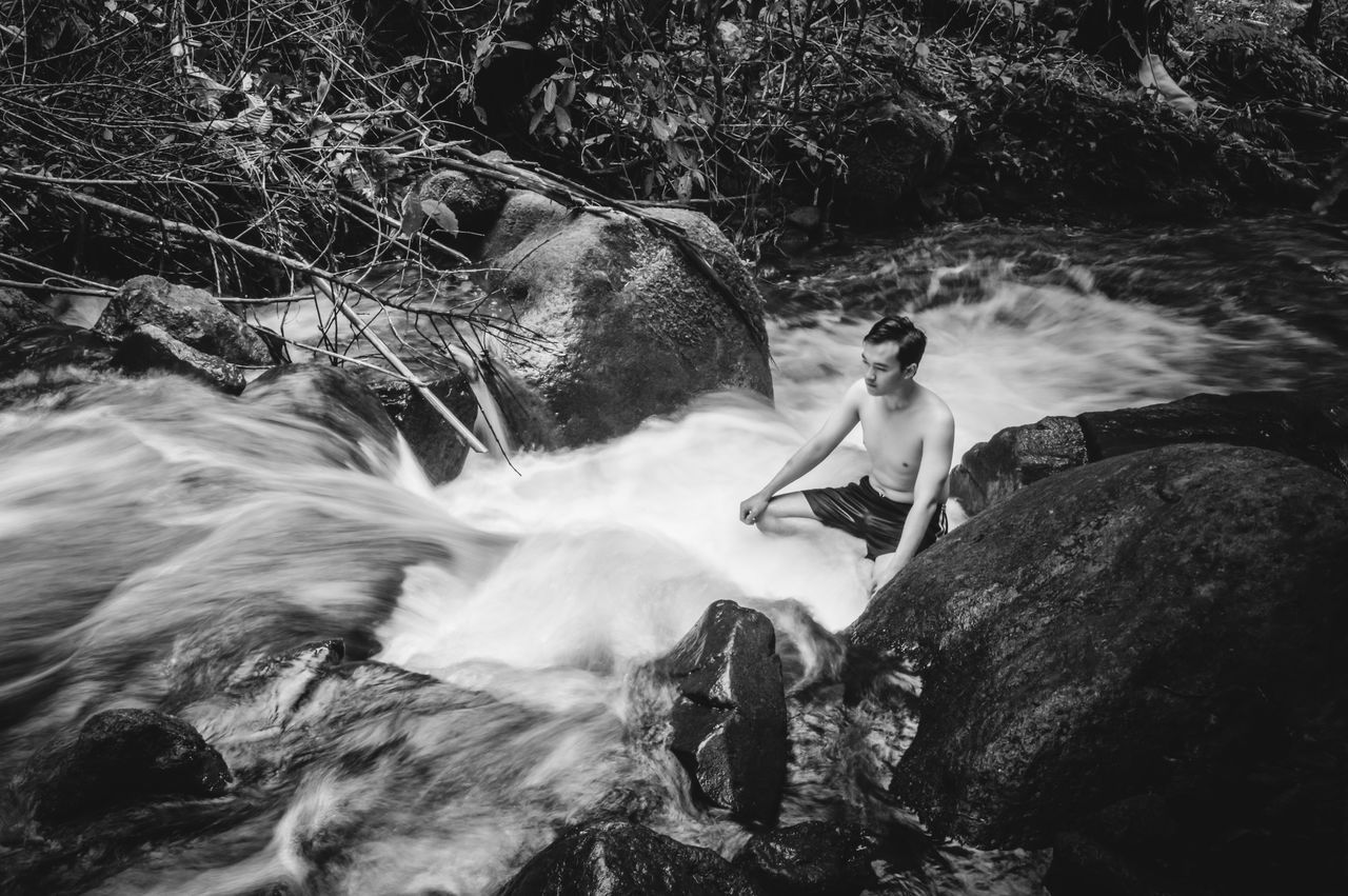 One Person Motion Adventure People Outdoors Nature Sitting Day First Eyeem Photo Travel Tranquility Beauty In Nature Outdoor People And Places The Great Outdoors - 2017 EyeEm Awards BYOPaper! Water River Blackandwhite Black And White Black & White Monochrome