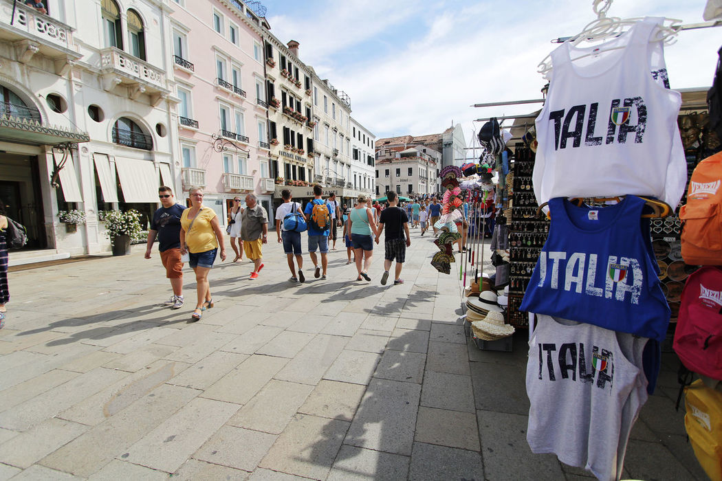 Crowds Italy People Romantic City Souvenirs Street Streetphotography Streetstall T-shirts Tourist Attraction  Tourists Venice