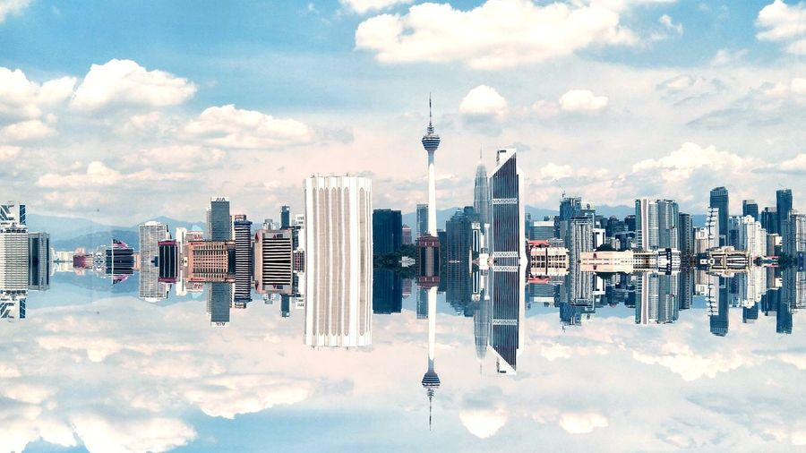 kuala lumpur city with reflection Magical Landscape Urban Clouds Sky Fantasy Imagination Beyonf Limit Limitless Finance City Malaysia Development Kl EyeEm Selects Cloud - Sky Skyscraper Sky Urban Skyline City Modern Cityscape No People Outdoors Architecture Business Day Global Communications Technology