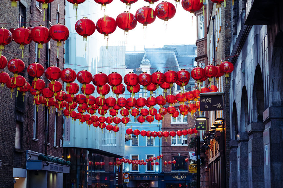 Celebration Chinatown Chinese Lantern Chinese New Year City Cultures Decoration Hanging London Red