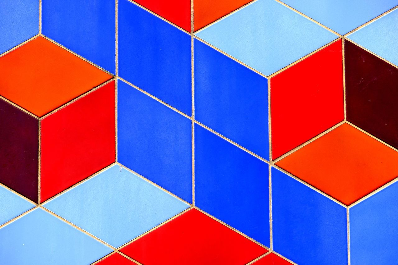 multi colored, geometric shape, backgrounds, shape, full frame, blue, red, pattern, triangle shape, abstract, no people, variation, close-up, day, architecture, puzzle, outdoors, geometry