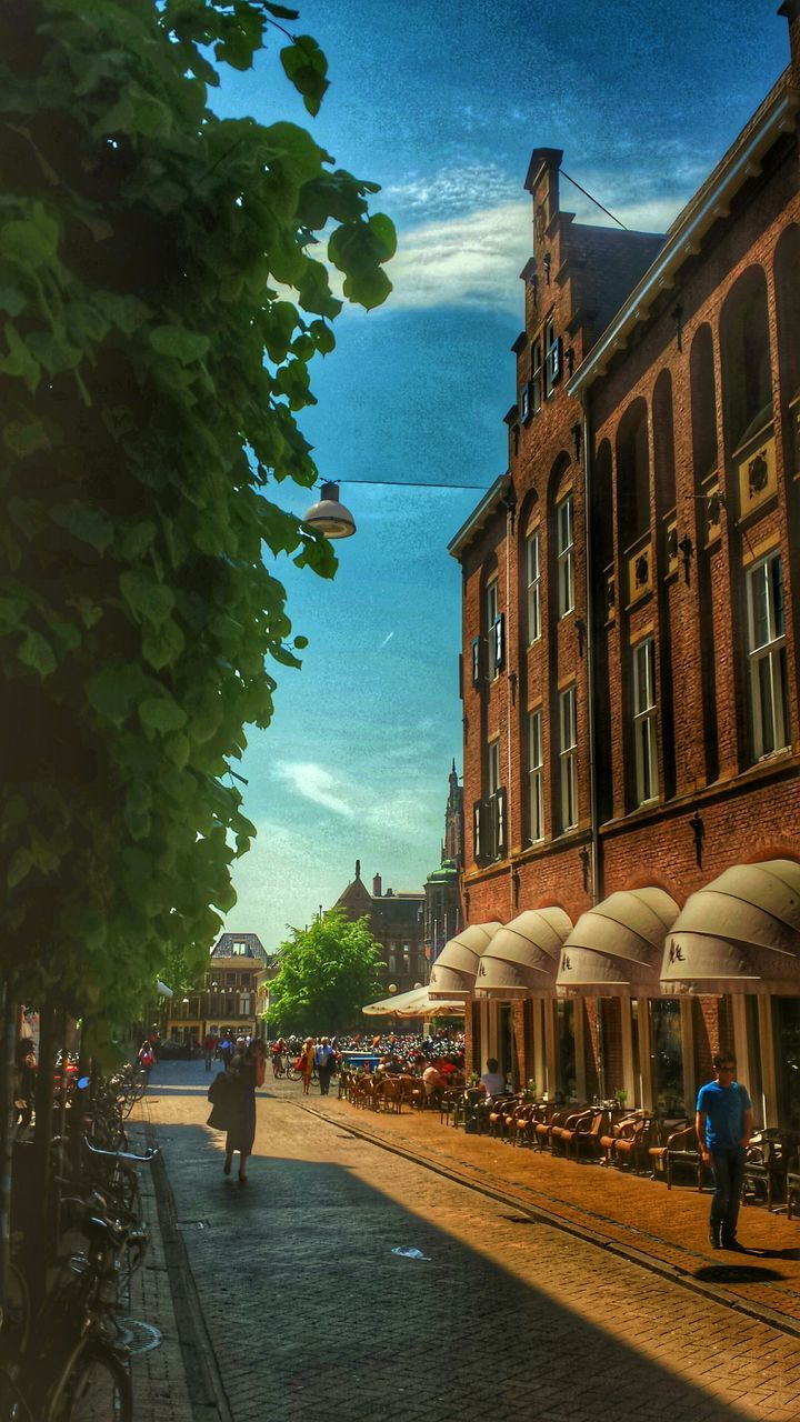 building exterior, architecture, built structure, sky, real people, men, large group of people, tree, women, day, outdoors, lifestyles, group of people, city, people