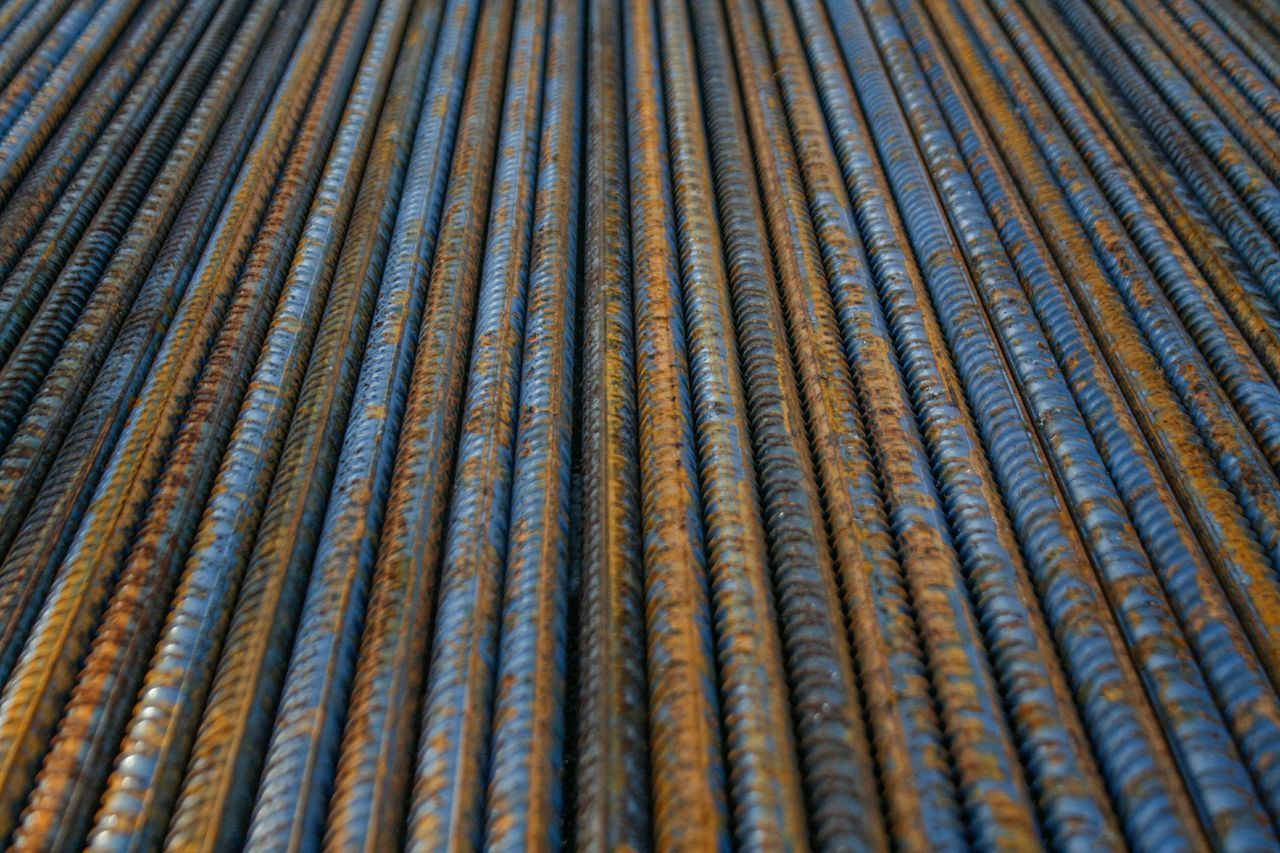 backgrounds, pattern, metal, full frame, textured, rusty, striped, corrugated iron, steel, industry, variation, roof, outdoors, no people, parallel, day, close-up, aluminum, factory