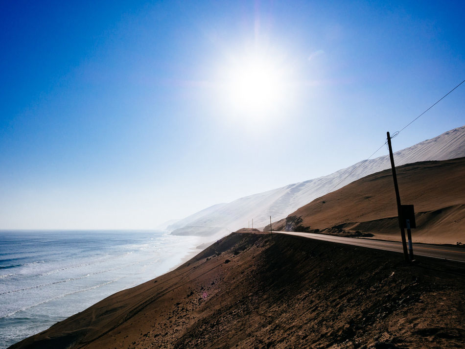 Panamericana Blue Coastline Horizon Over Water Outdoors Panamericana Peru Road Scenics Sea Shore Sky Sun Sunlight Water