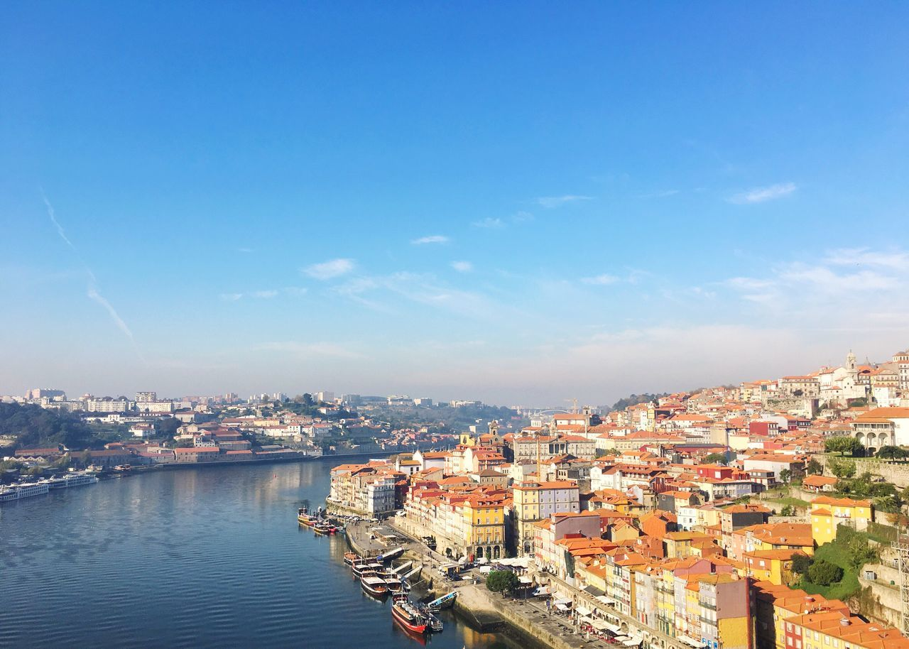 Building Exterior Architecture Built Structure Cityscape City Sky Water Residential Building Waterfront No People Outdoors Sea Day Nature Beauty In Nature Settlement Porto Portugal Douro  Coast Colorful Landscape Harbor Boats Cruise Ship