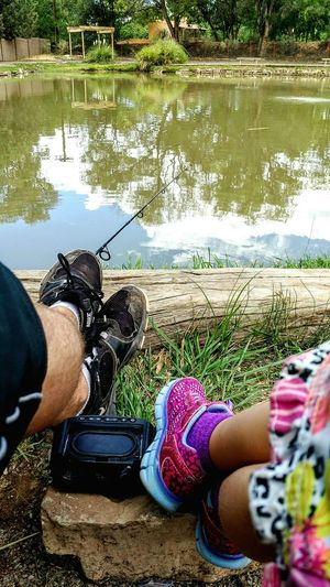 Catfishin with my LondonLondonFatherhood Moments Relaxation Father Daughter Family Kids New Mexico Beauty Blackberry Priv Relaxation Sitting Water Shoe Togetherness Tranquility Casual Clothing Fishing Daddy's Princess Got Dad Around Her Finger Love Blessed  Nowhere Else I'd Rather Be Happy Lost Without London People And Places