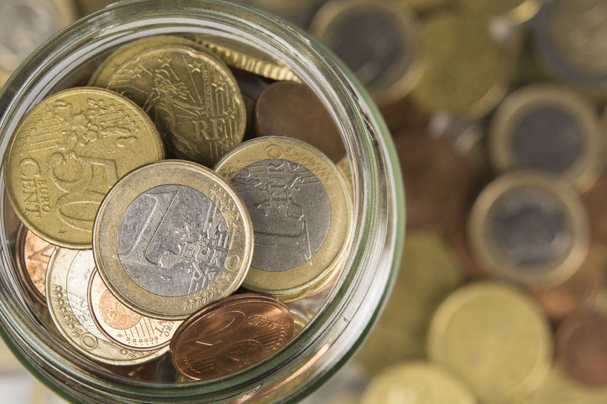 cash jar on a pile of coins Economy Prosperity Abundance Account Backgrounds Business Charity Coin Currency Deposit Detail Donation Earnings Euro Finance Financial Full Insurance Investment Jar Money Retirement Savings Success Wealth